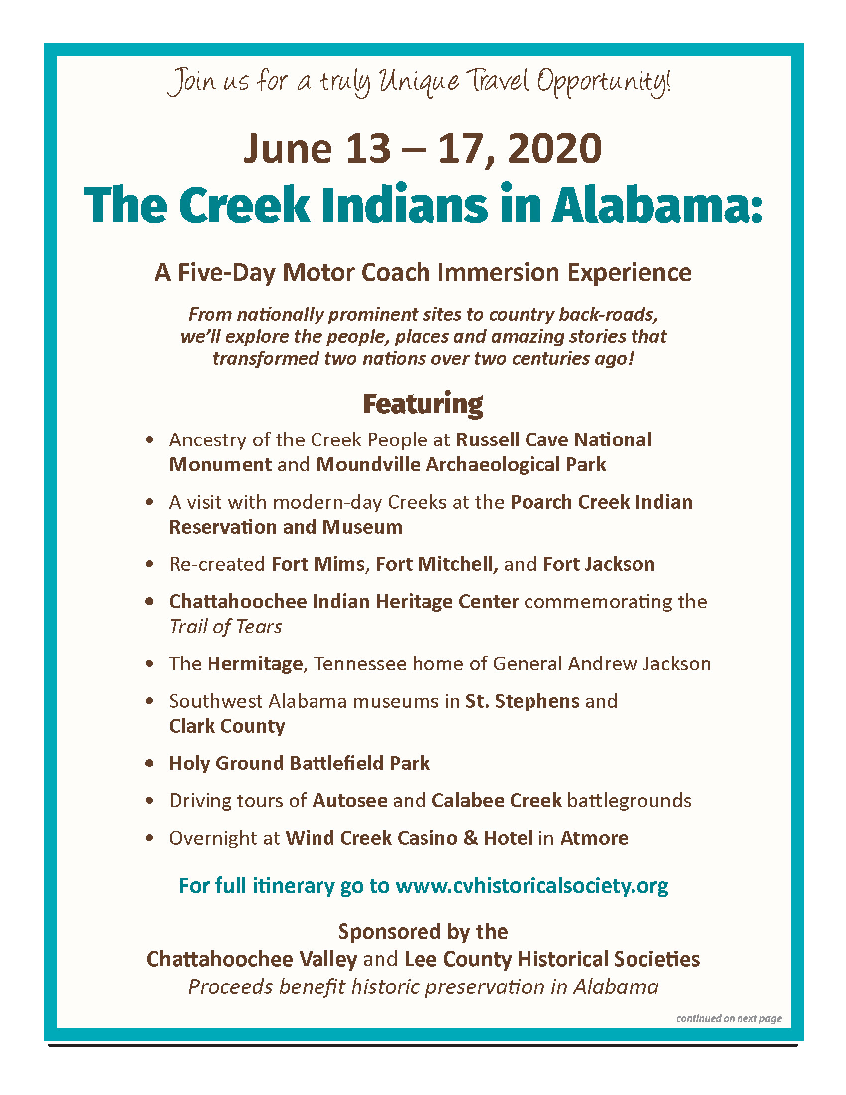 Alabama Tour 2020.2020 Creek Indian Bus Tour Chattahoochee Valley Historical